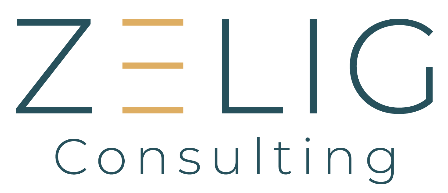 """Zelig Consulting"" text logo in blue and yellow"